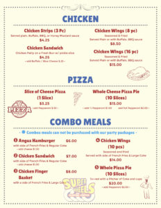 Snack Bar Menu - PG 2