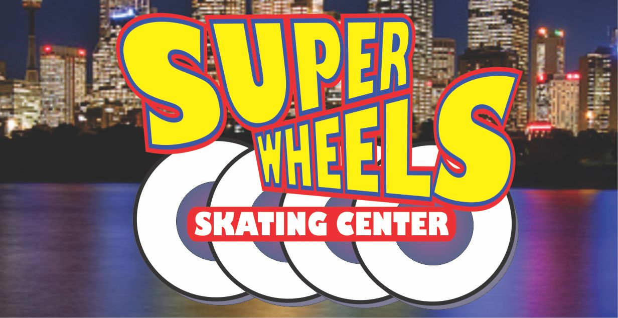 SUPER WHEELS SKATING CENTER LOGO WITH BACKGROUND